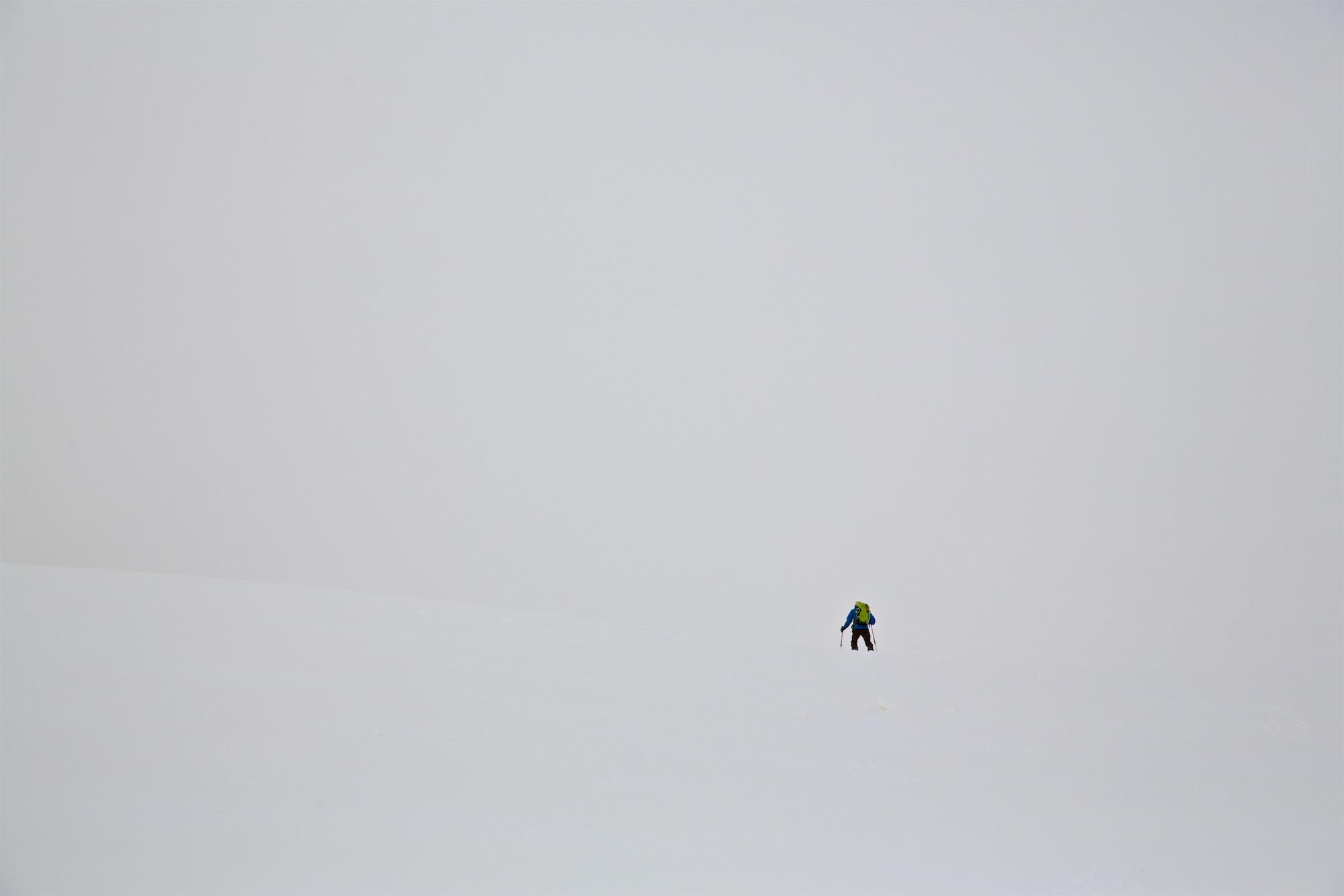 Skitour bei etwas anspruchsvolleren Bedingungen.